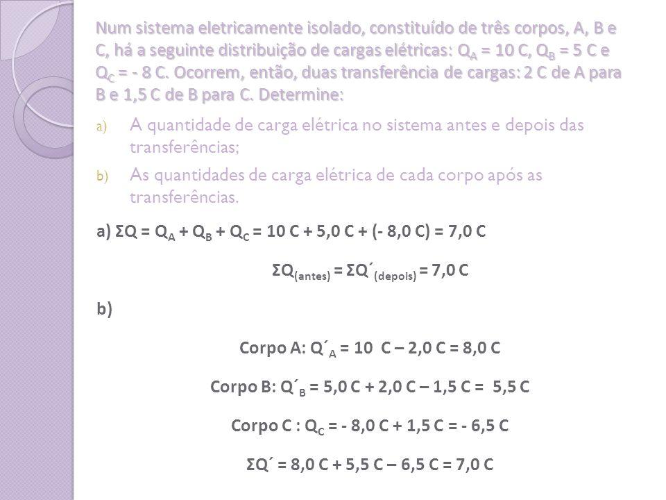 ΣQ(antes) = ΣQ´(depois) = 7,0 C