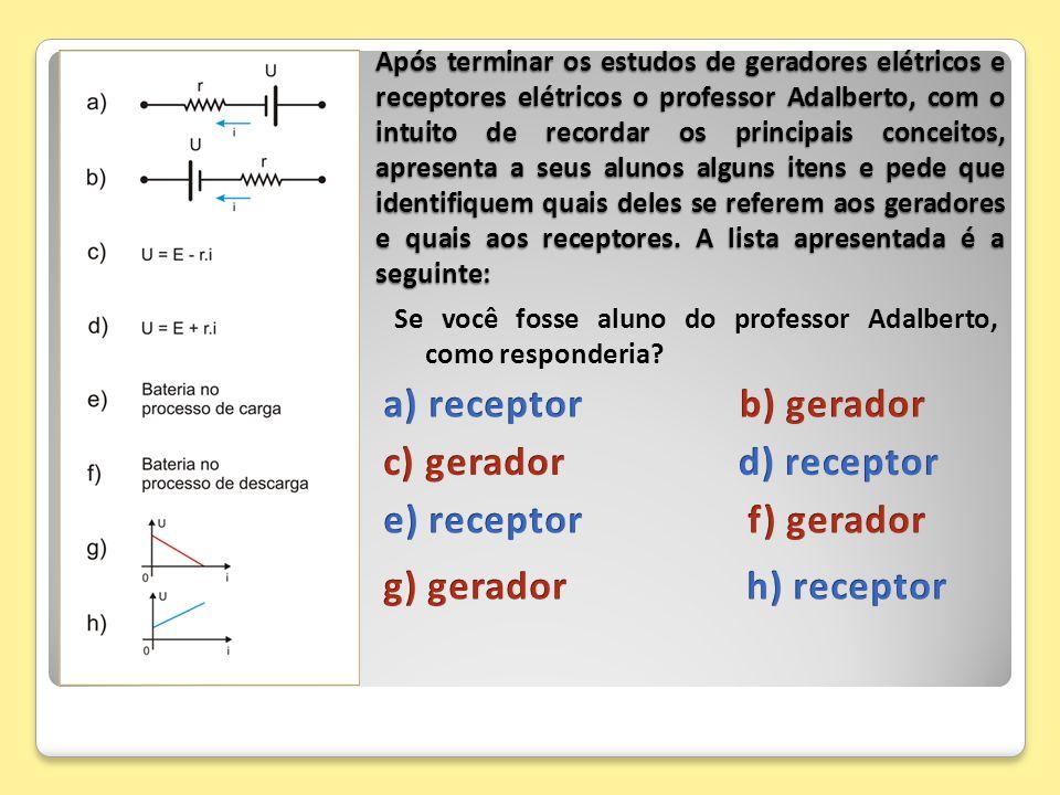 a) receptor b) gerador c) gerador d) receptor e) receptor f) gerador