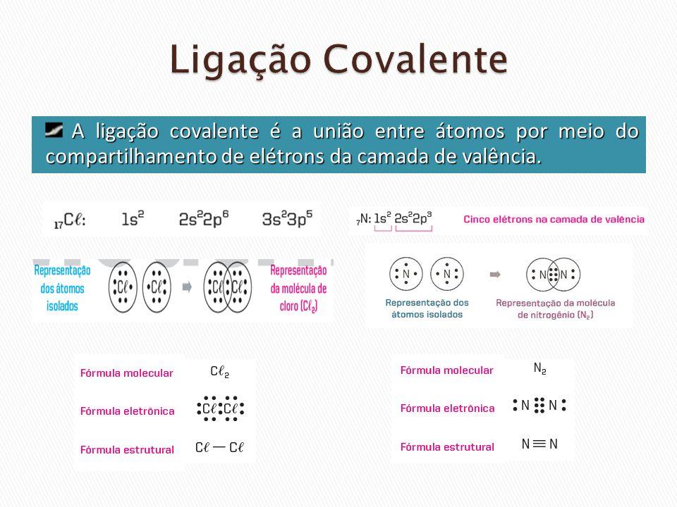 Ligação CovalenteA ligação covalente é a união entre átomos por meio do compartilhamento de elétrons da camada de valência.