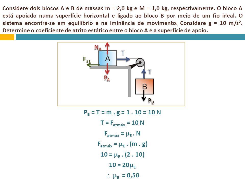 Considere dois blocos A e B de massas m = 2,0 kg e M = 1,0 kg, respectivamente. O bloco A está apoiado numa superfície horizontal e ligado ao bloco B por meio de um fio ideal. O sistema encontra-se em equilíbrio e na iminência de movimento. Considere g = 10 m/s2. Determine o coeficiente de atrito estático entre o bloco A e a superfície de apoio.