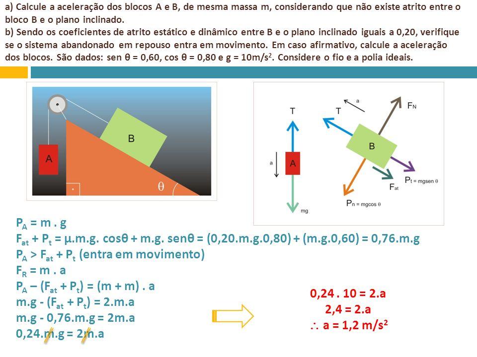 PA > Fat + Pt (entra em movimento) FR = m . a