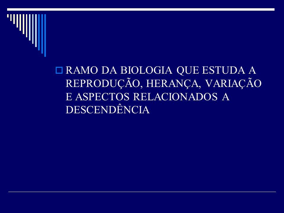 RAMO DA BIOLOGIA QUE ESTUDA A REPRODUÇÃO, HERANÇA, VARIAÇÃO E ASPECTOS RELACIONADOS A DESCENDÊNCIA