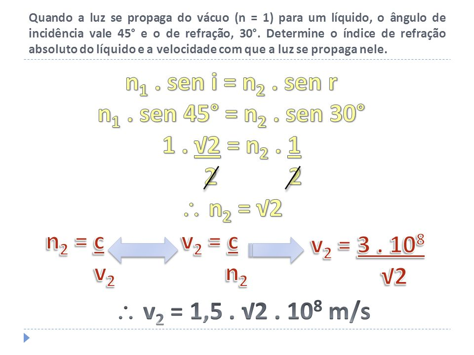 n1 . sen i = n2 . sen r n1 . sen 45° = n2 . sen 30° 1 . √2 = n2 . 1