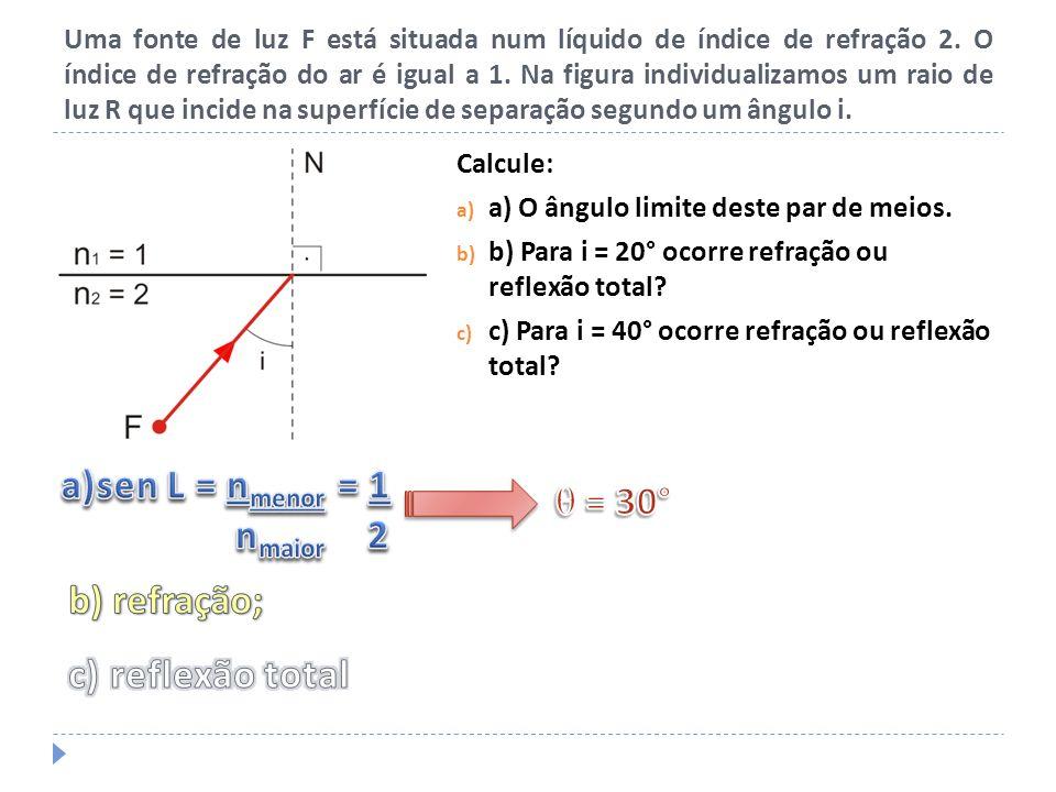 a)sen L = nmenor = 1 nmaior 2  = 30°