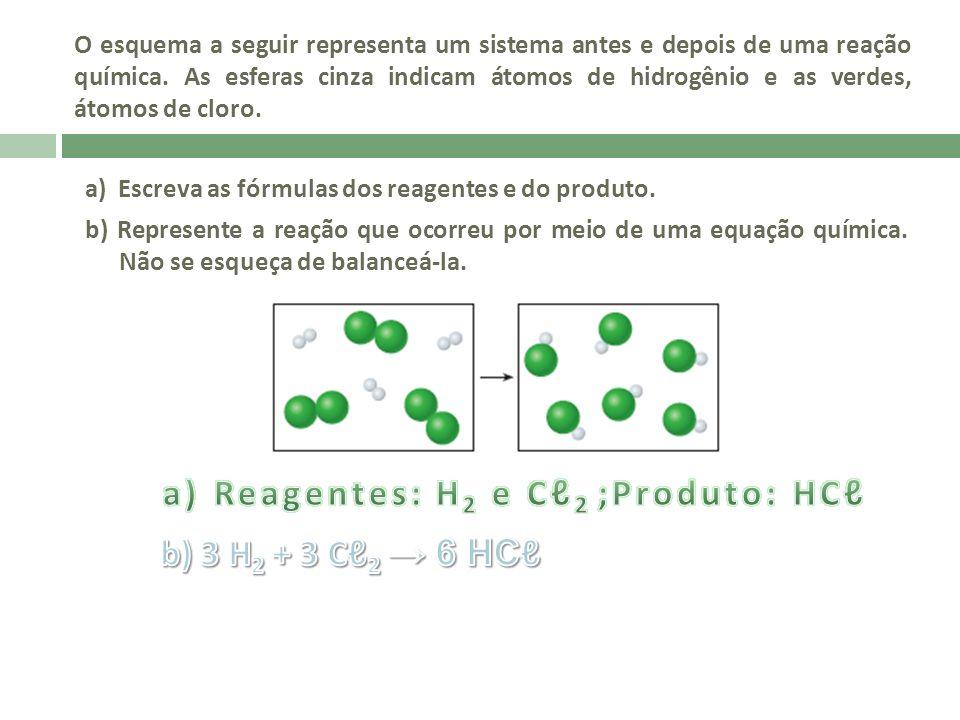 a) Reagentes: H2 e Cℓ2 ;Produto: HCℓ