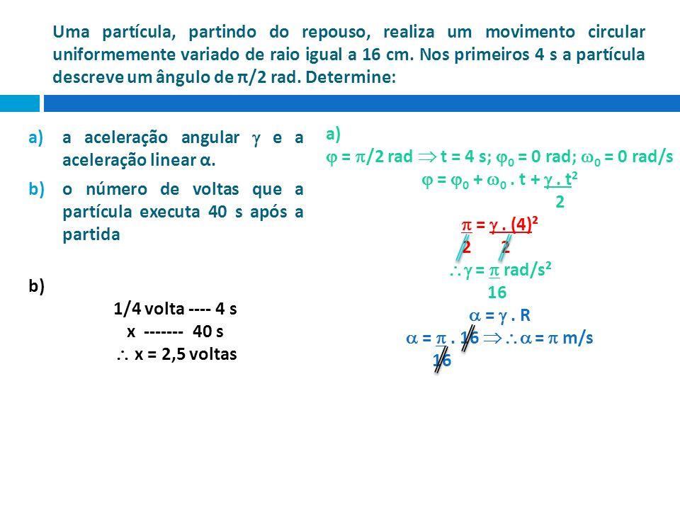 Uma partícula, partindo do repouso, realiza um movimento circular uniformemente variado de raio igual a 16 cm. Nos primeiros 4 s a partícula descreve um ângulo de π/2 rad. Determine: