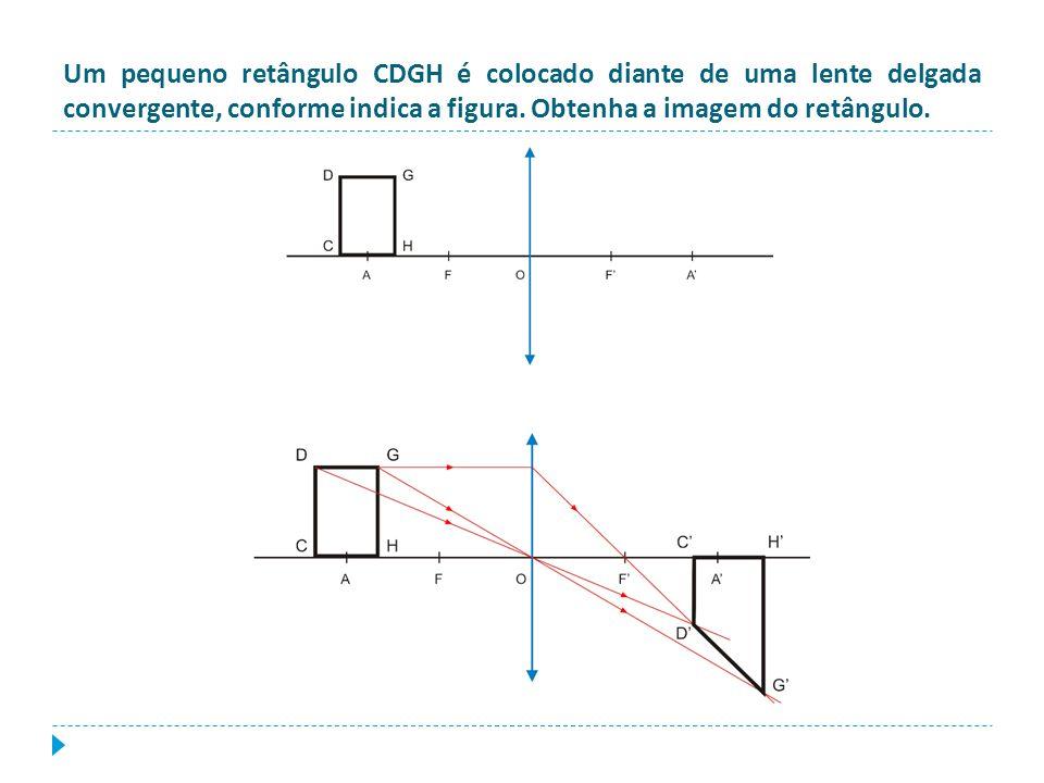 Um pequeno retângulo CDGH é colocado diante de uma lente delgada convergente, conforme indica a figura.