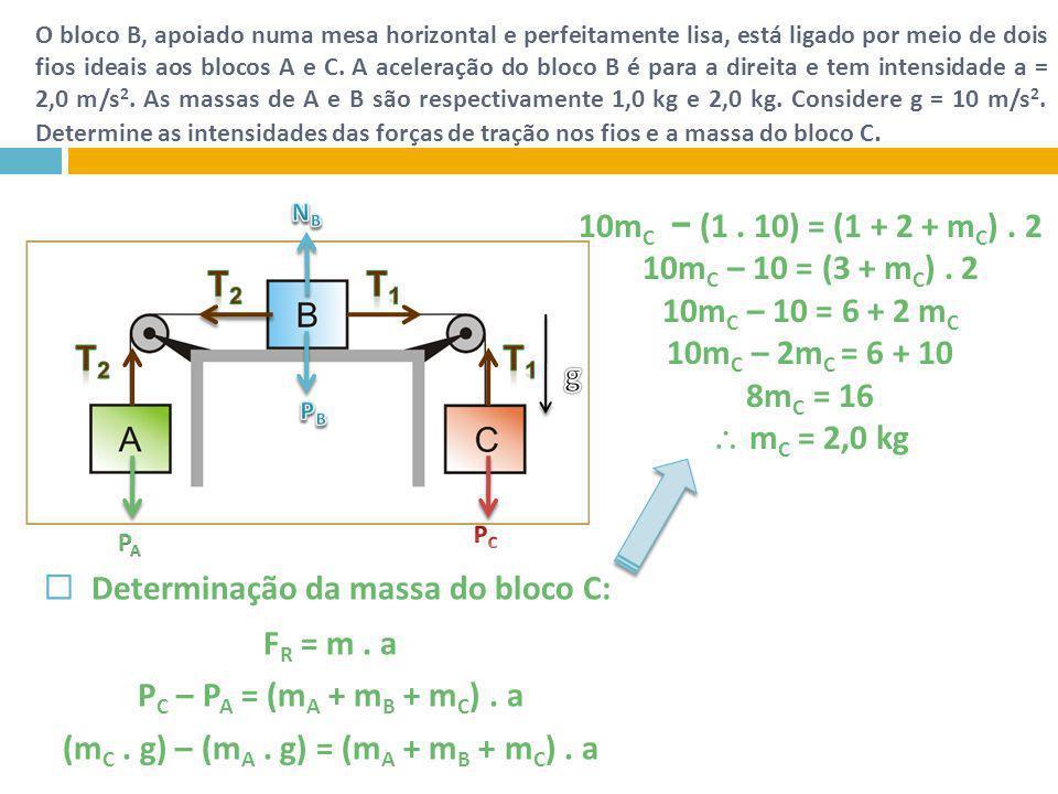 (mC . g) – (mA . g) = (mA + mB + mC) . a