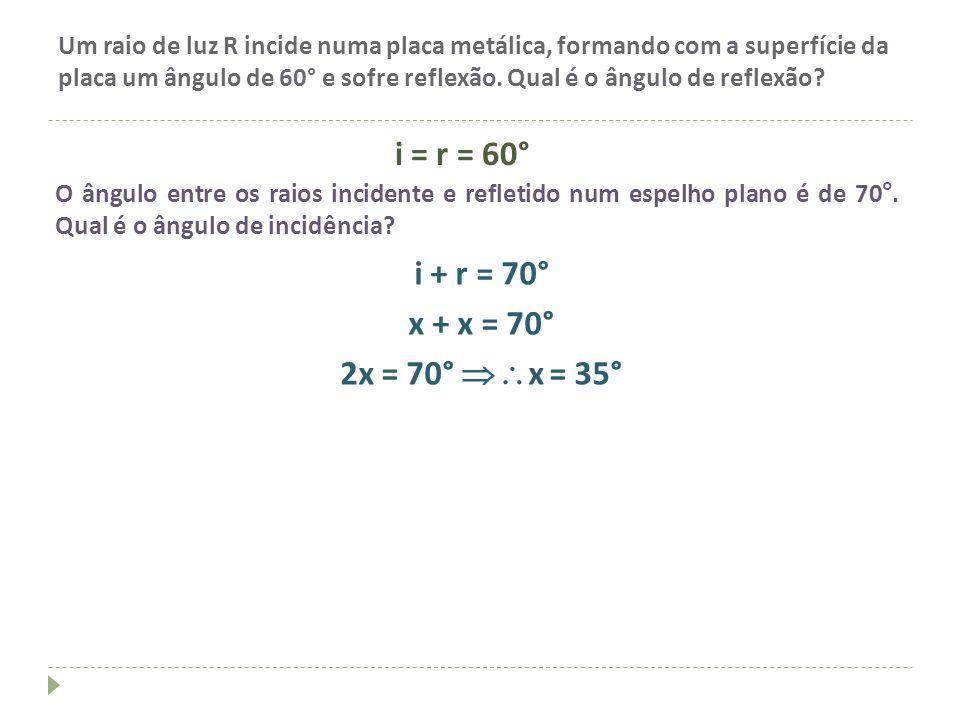 i = r = 60° i + r = 70° x + x = 70° 2x = 70° x = 35°