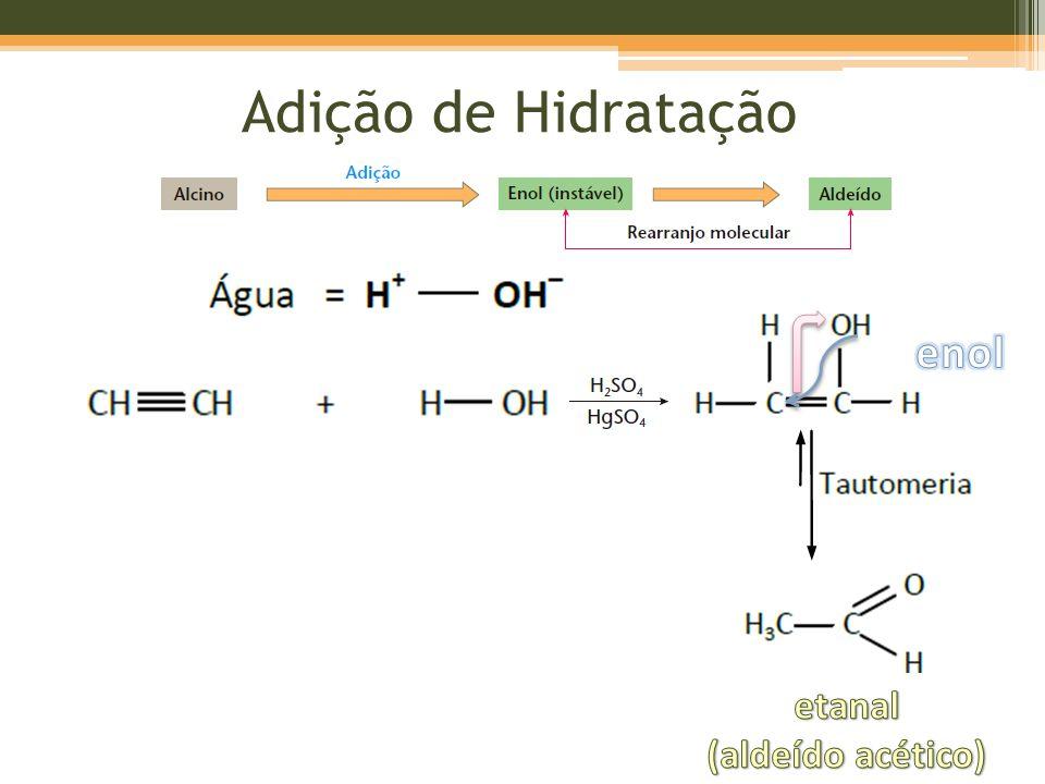Adição de Hidratação enol etanal (aldeído acético)