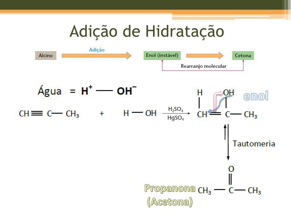 Adição de Hidratação enol Propanona (Acetona)
