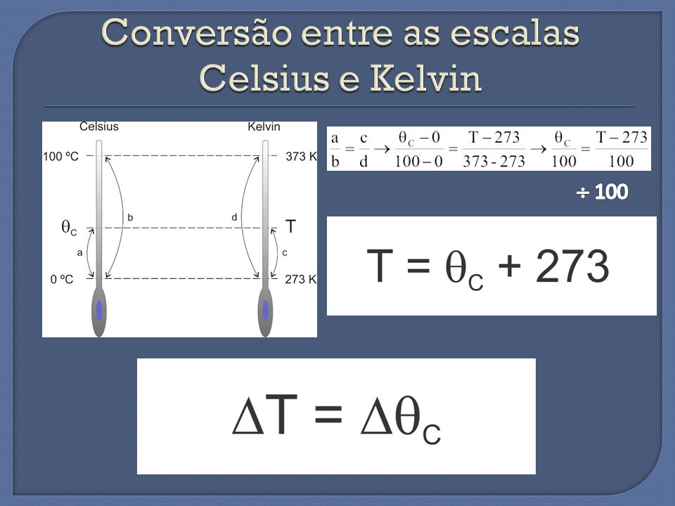 Conversão entre as escalas Celsius e Kelvin