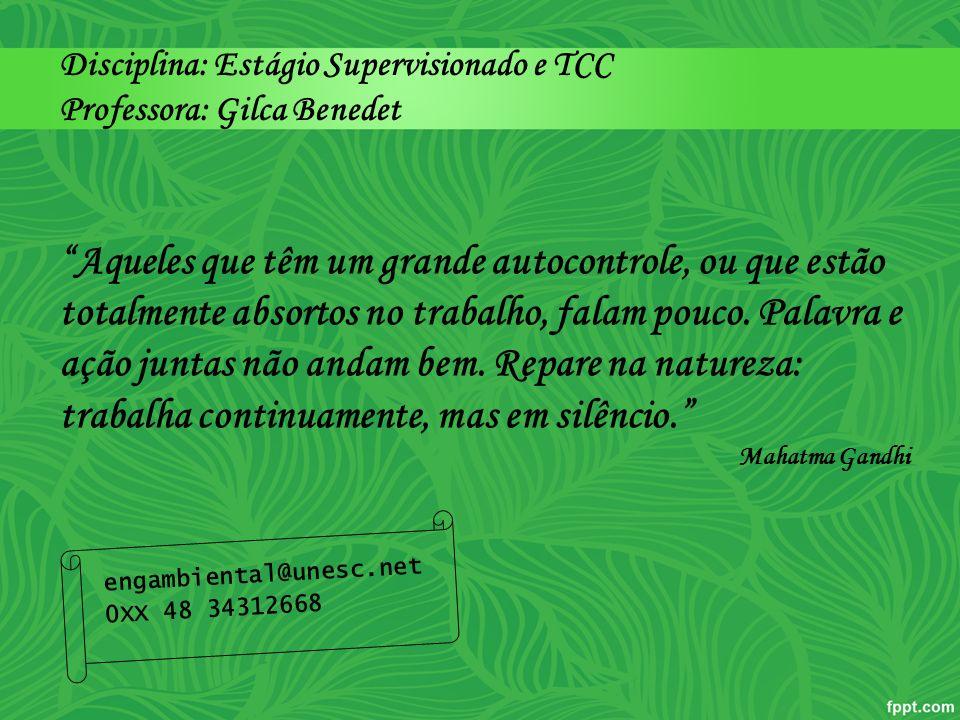 Disciplina: Estágio Supervisionado e TCC Professora: Gilca Benedet
