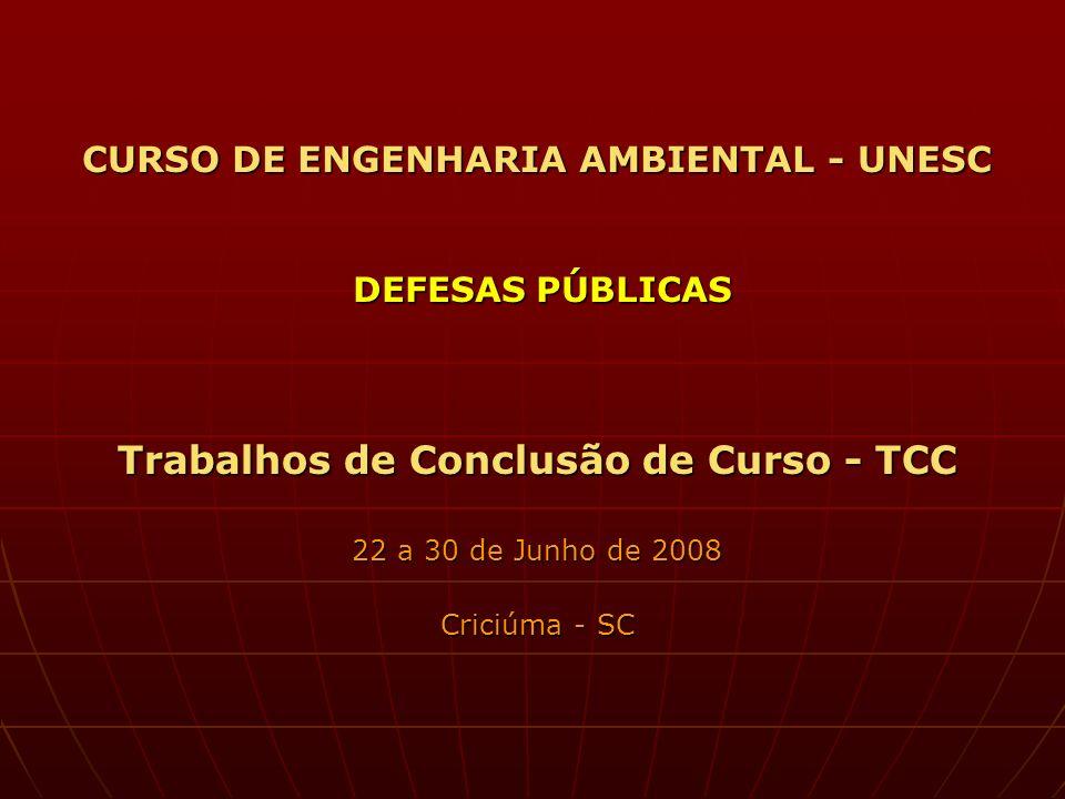 CURSO DE ENGENHARIA AMBIENTAL - UNESC DEFESAS PÚBLICAS