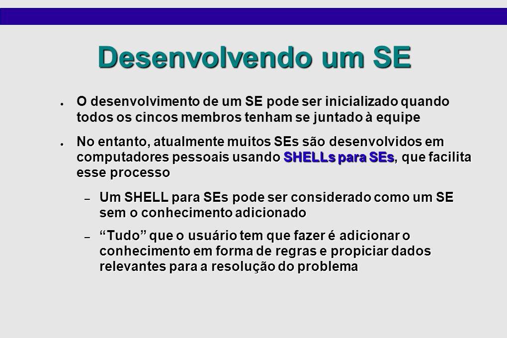 Desenvolvendo um SE O desenvolvimento de um SE pode ser inicializado quando todos os cincos membros tenham se juntado à equipe.