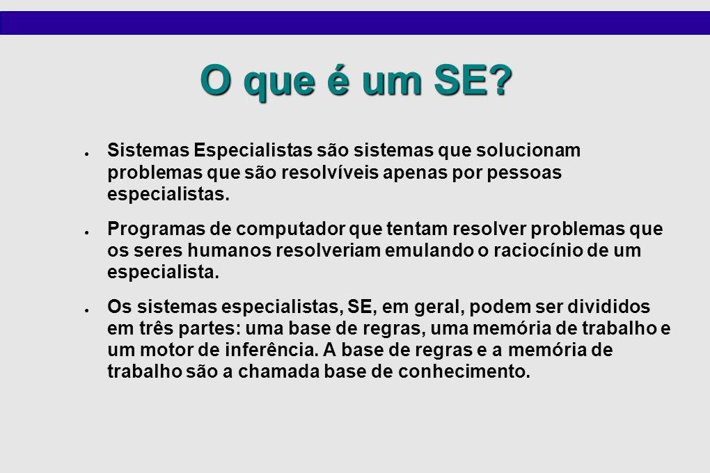 O que é um SE Sistemas Especialistas são sistemas que solucionam problemas que são resolvíveis apenas por pessoas especialistas.