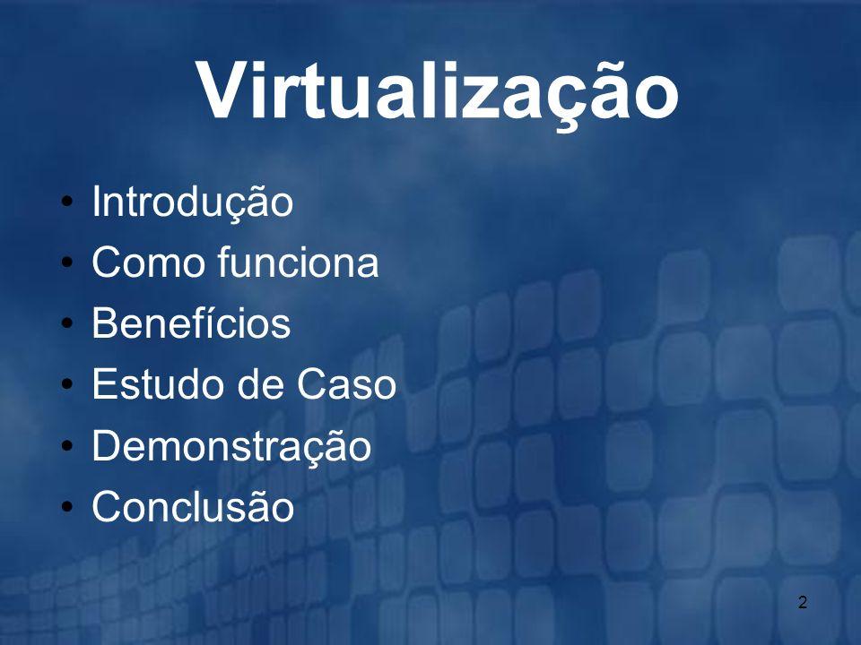 Virtualização Introdução Como funciona Benefícios Estudo de Caso