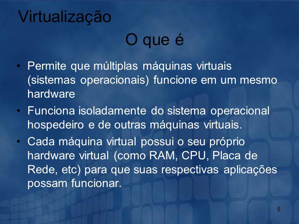 Virtualização O que é. Permite que múltiplas máquinas virtuais (sistemas operacionais) funcione em um mesmo hardware.