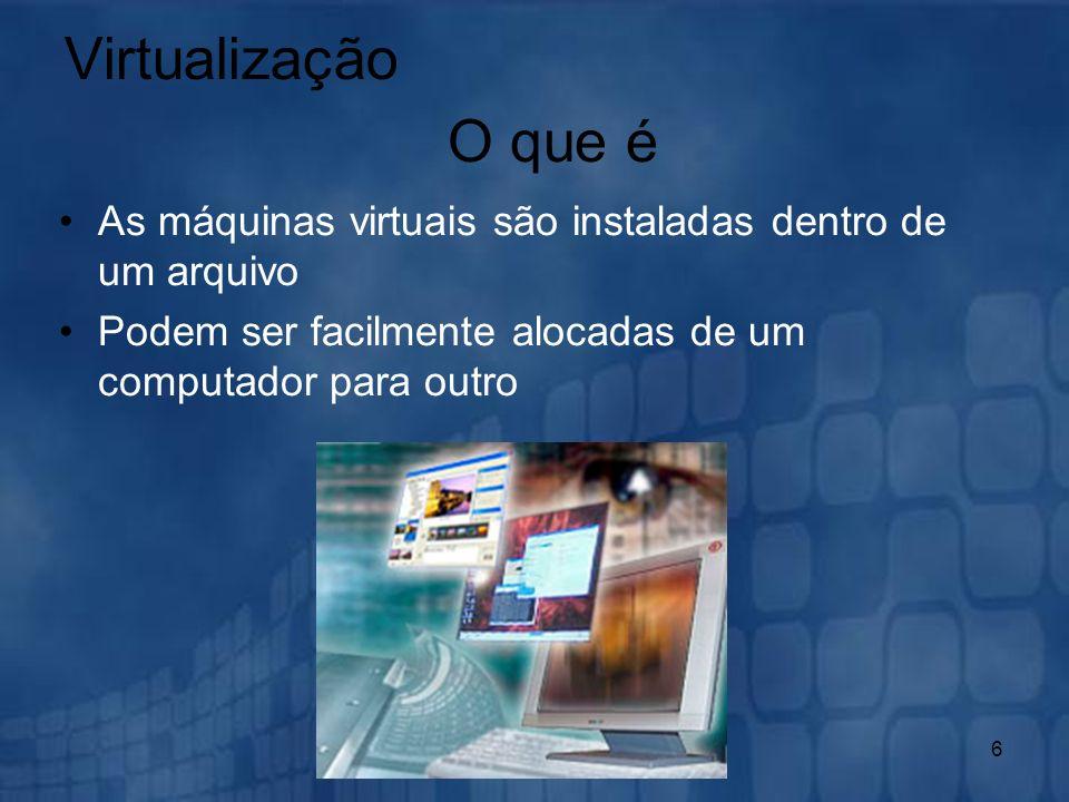 Virtualização O que é. As máquinas virtuais são instaladas dentro de um arquivo.