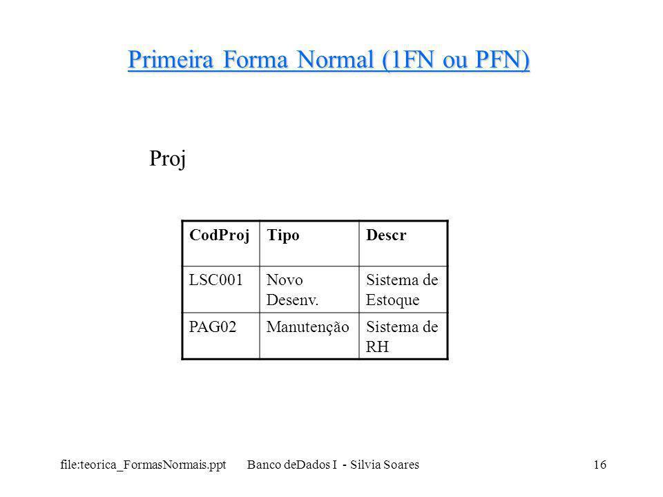 Primeira Forma Normal (1FN ou PFN)