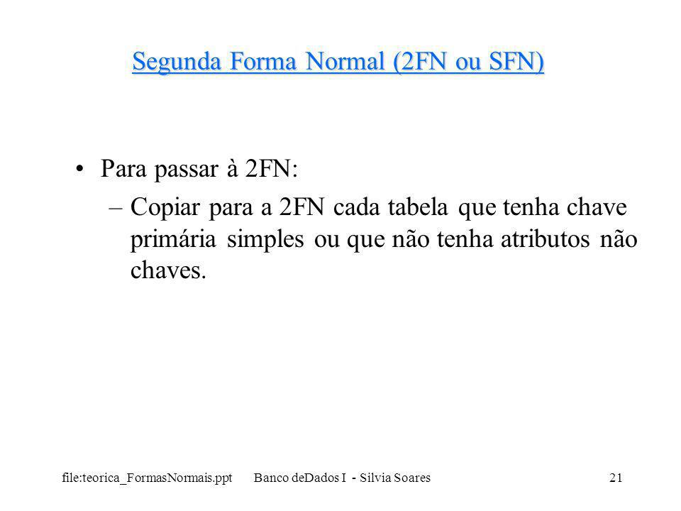 Segunda Forma Normal (2FN ou SFN)