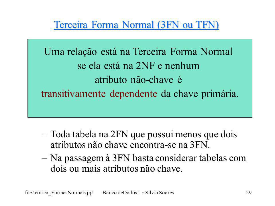 Terceira Forma Normal (3FN ou TFN)