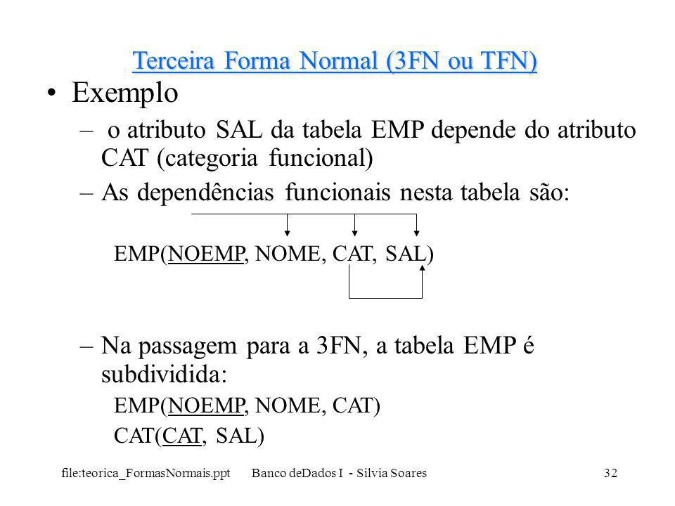 Exemplo Terceira Forma Normal (3FN ou TFN)