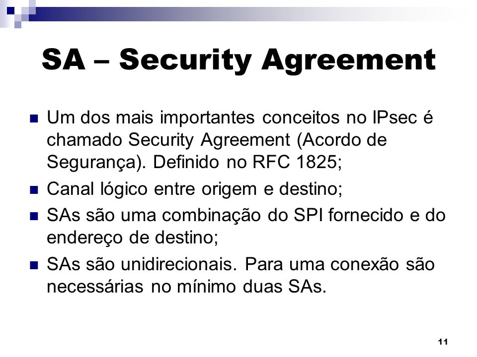 SA – Security Agreement