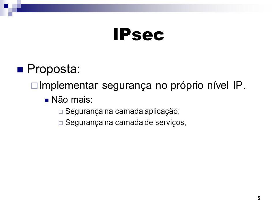 IPsec Proposta: Implementar segurança no próprio nível IP. Não mais: