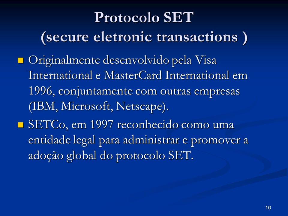 Protocolo SET (secure eletronic transactions )