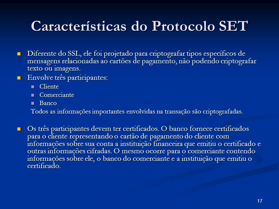 Características do Protocolo SET