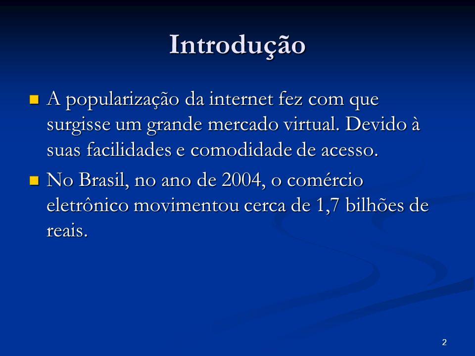 Introdução A popularização da internet fez com que surgisse um grande mercado virtual. Devido à suas facilidades e comodidade de acesso.