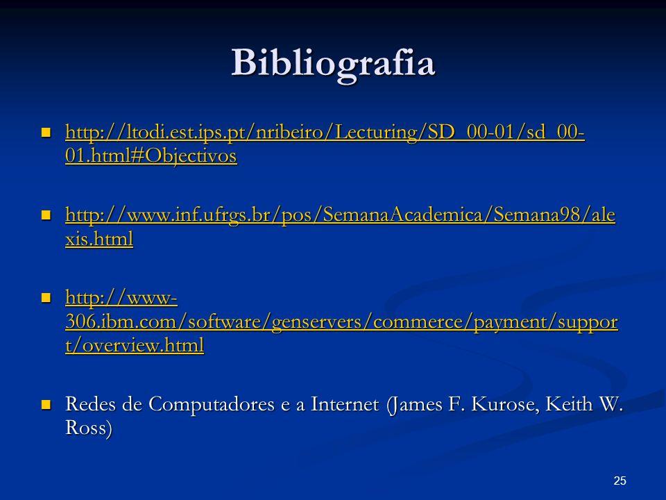 Bibliografia http://ltodi.est.ips.pt/nribeiro/Lecturing/SD_00-01/sd_00-01.html#Objectivos.