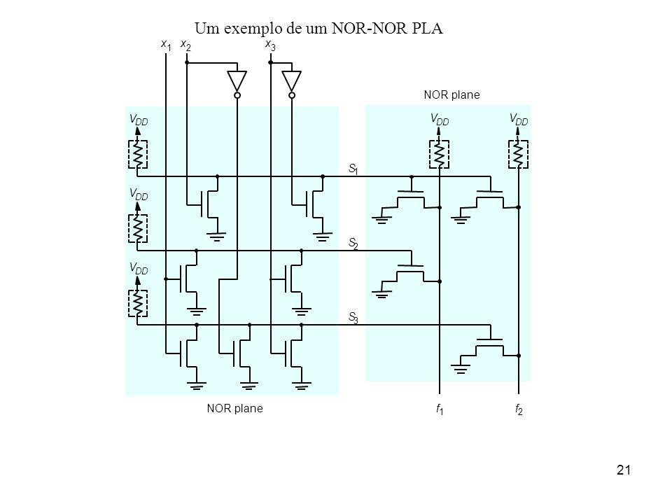 Um exemplo de um NOR-NOR PLA