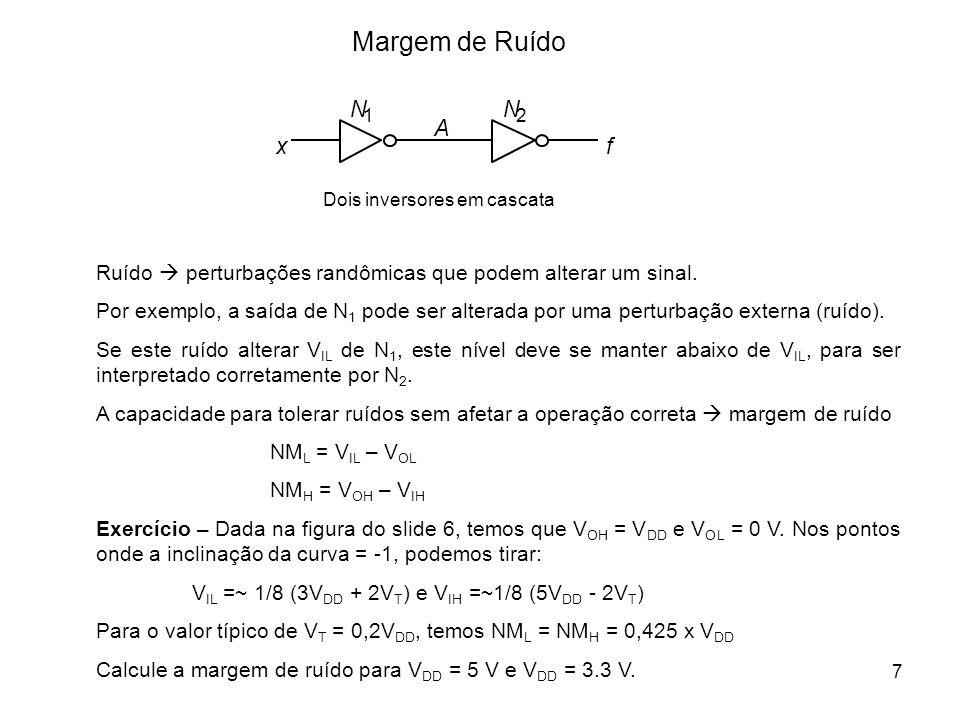 Margem de Ruído x. f. A. Dois inversores em cascata. N. 1. 2. Ruído  perturbações randômicas que podem alterar um sinal.