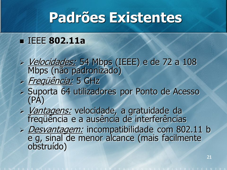 Padrões Existentes IEEE 802.11a