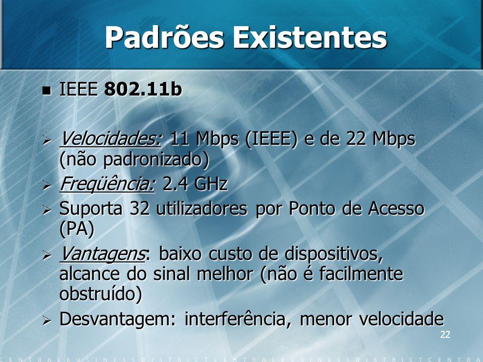 Padrões Existentes IEEE 802.11b