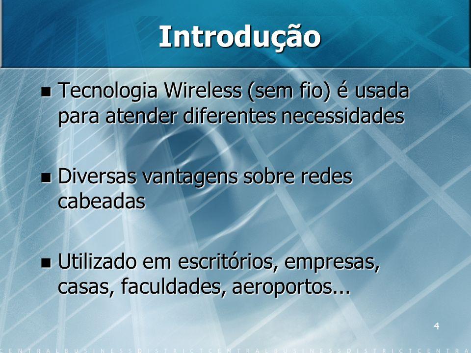Introdução Tecnologia Wireless (sem fio) é usada para atender diferentes necessidades. Diversas vantagens sobre redes cabeadas.