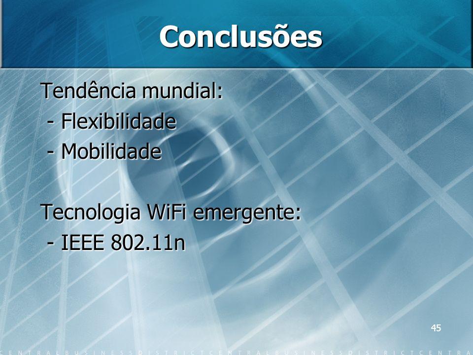 Conclusões Tendência mundial: - Flexibilidade - Mobilidade