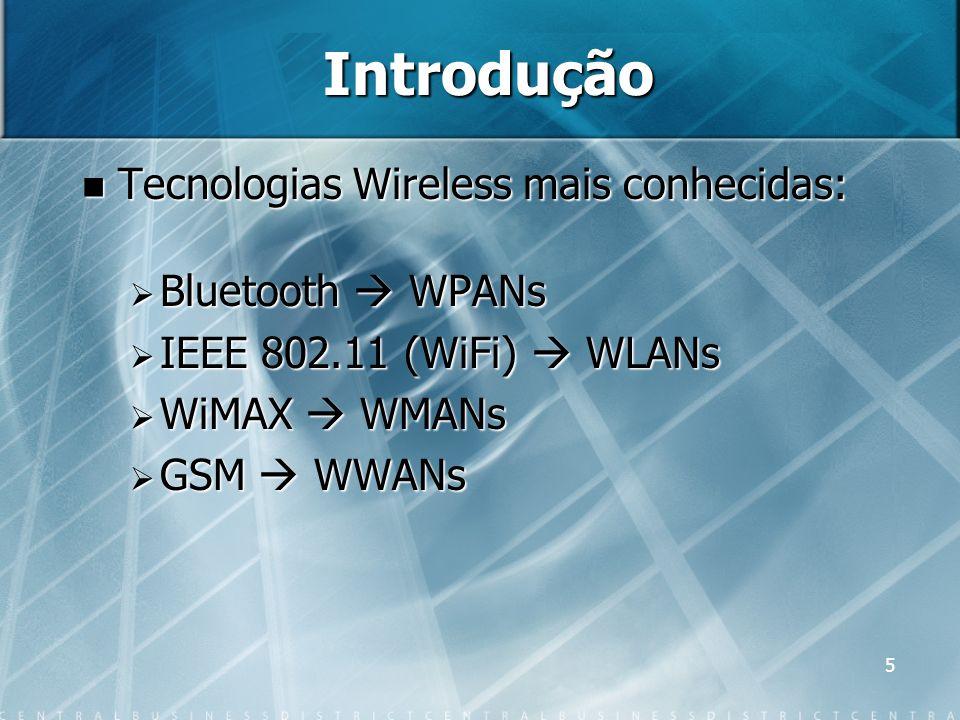 Introdução Tecnologias Wireless mais conhecidas: Bluetooth  WPANs