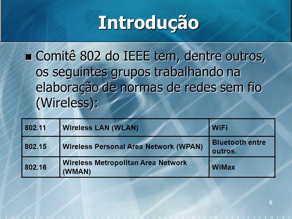 Introdução Comitê 802 do IEEE tem, dentre outros, os seguintes grupos trabalhando na elaboração de normas de redes sem fio (Wireless):