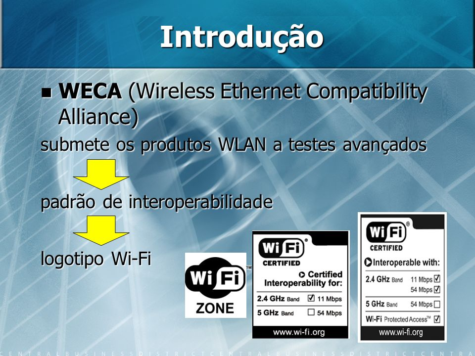 Introdução WECA (Wireless Ethernet Compatibility Alliance)