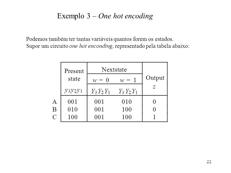 Exemplo 3 – One hot encoding