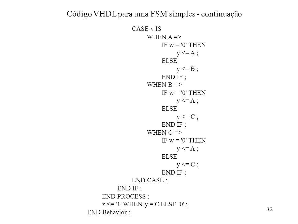 Código VHDL para uma FSM simples - continuação