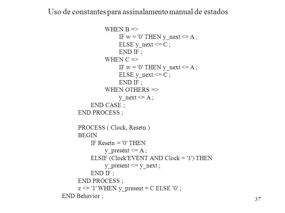 Uso de constantes para assinalamento manual de estados
