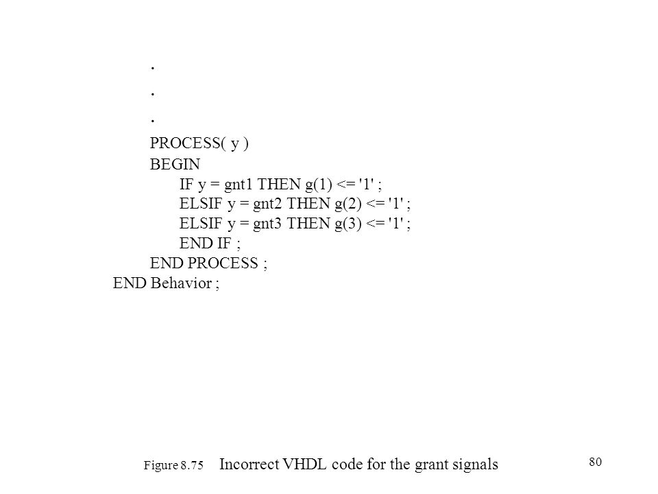 Figure 8.75 Incorrect VHDL code for the grant signals