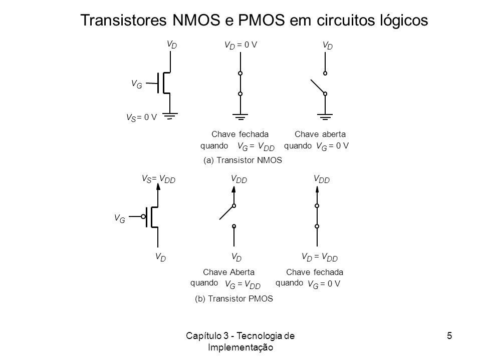 Transistores NMOS e PMOS em circuitos lógicos