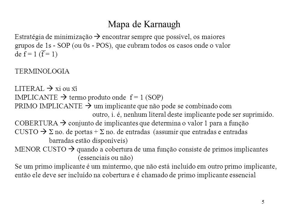 Mapa de Karnaugh Estratégia de minimização  encontrar sempre que possível, os maiores.