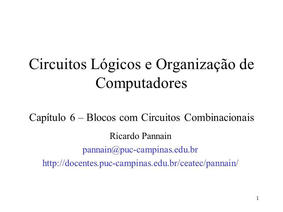 Circuitos Lógicos e Organização de Computadores Capítulo 6 – Blocos com Circuitos Combinacionais