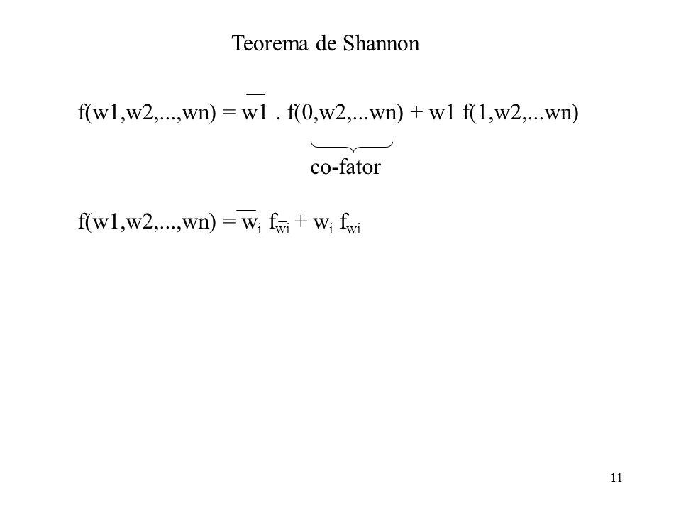 Teorema de Shannon f(w1,w2,...,wn) = w1 . f(0,w2,...wn) + w1 f(1,w2,...wn) co-fator.